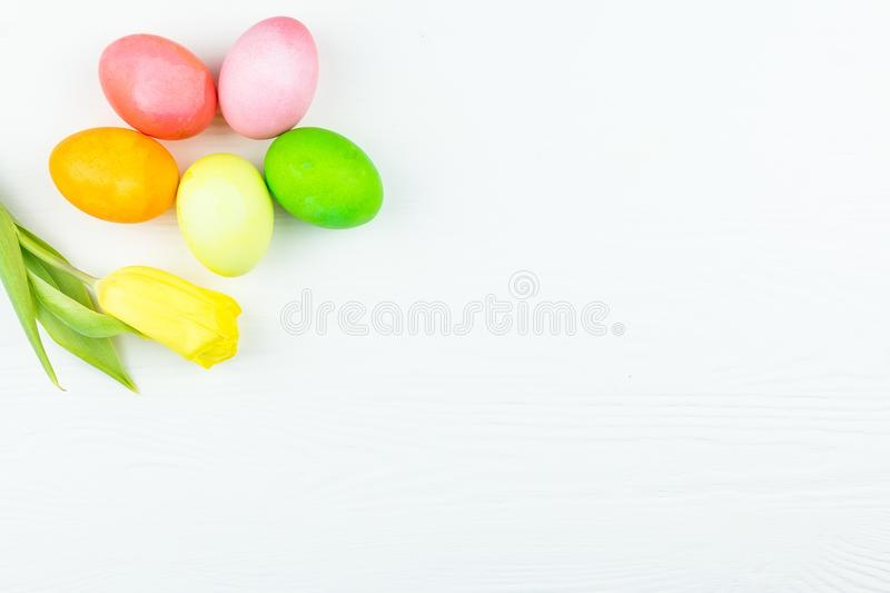 Easter eggs and a flower royalty free stock photography