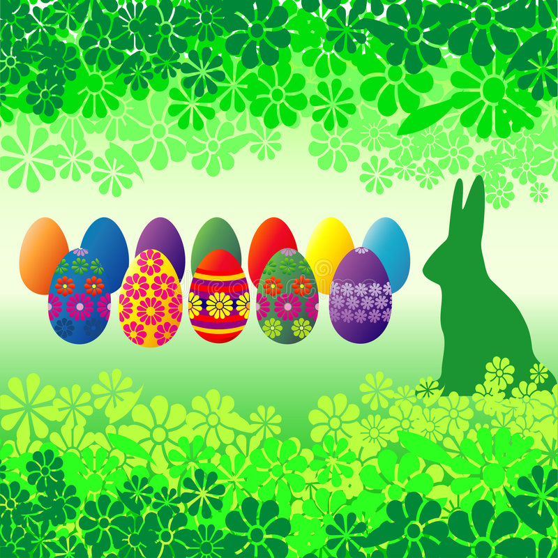 Easter Eggs and Flowers royalty free illustration