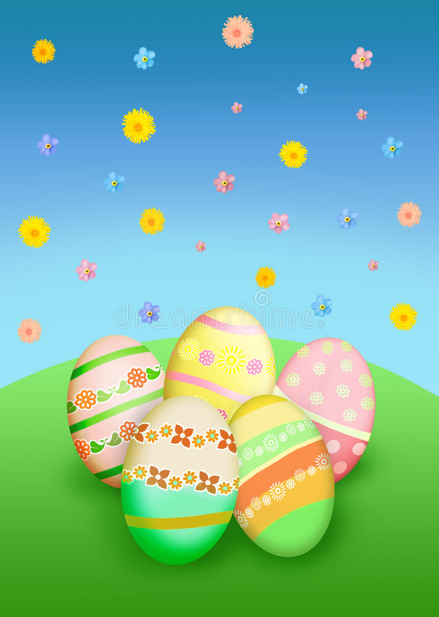 Download Easter eggs and flowers stock illustration. Image of greeting - 29439298