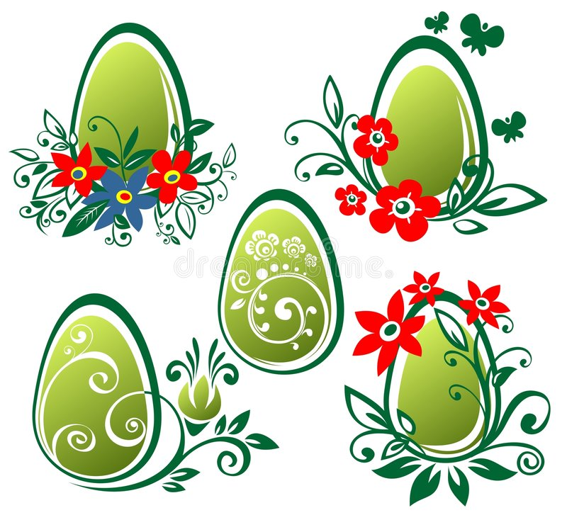 Easter eggs with flowers royalty free stock photography