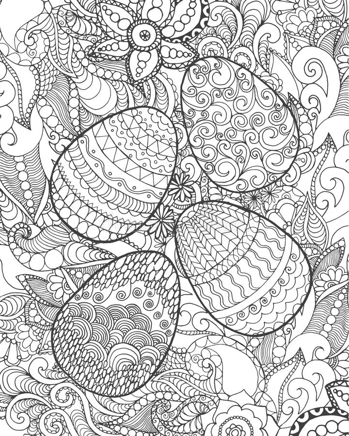 Easter eggs and flowers coloring page stock photography