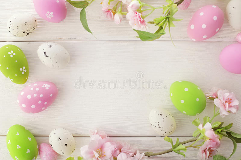 Easter eggs frame stock images