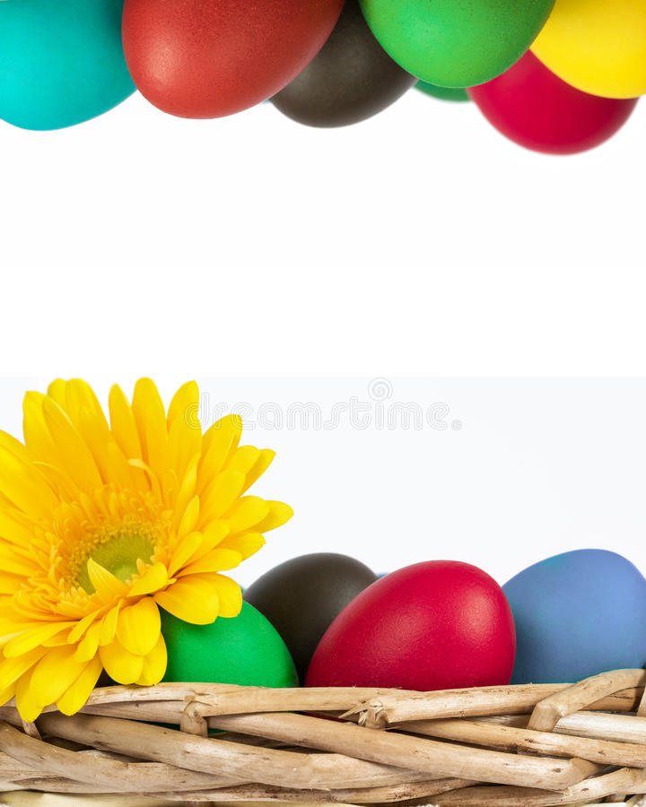 Easter eggs frame four-fifths stock images