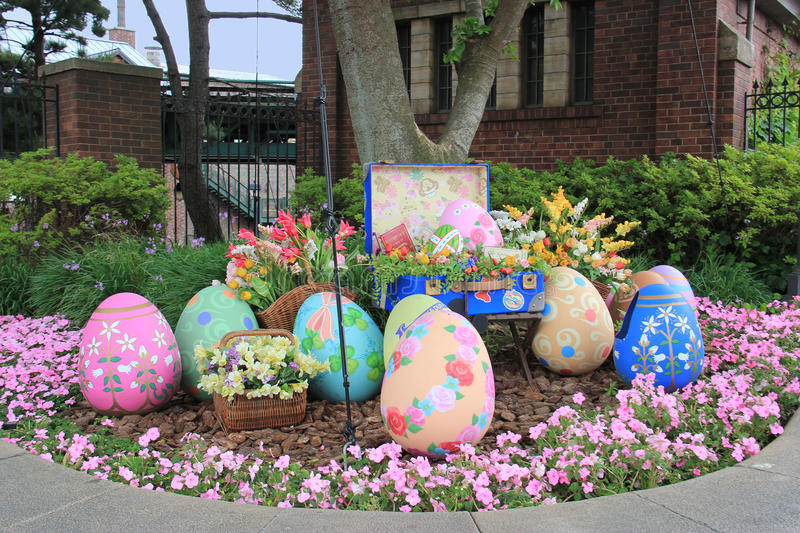 Easter Eggs in the Garden. Tokyo, Japan - May 29, 2013: The garden is decorated with beautiful painted Easter Eggs to celebrate Easter or springtime stock image