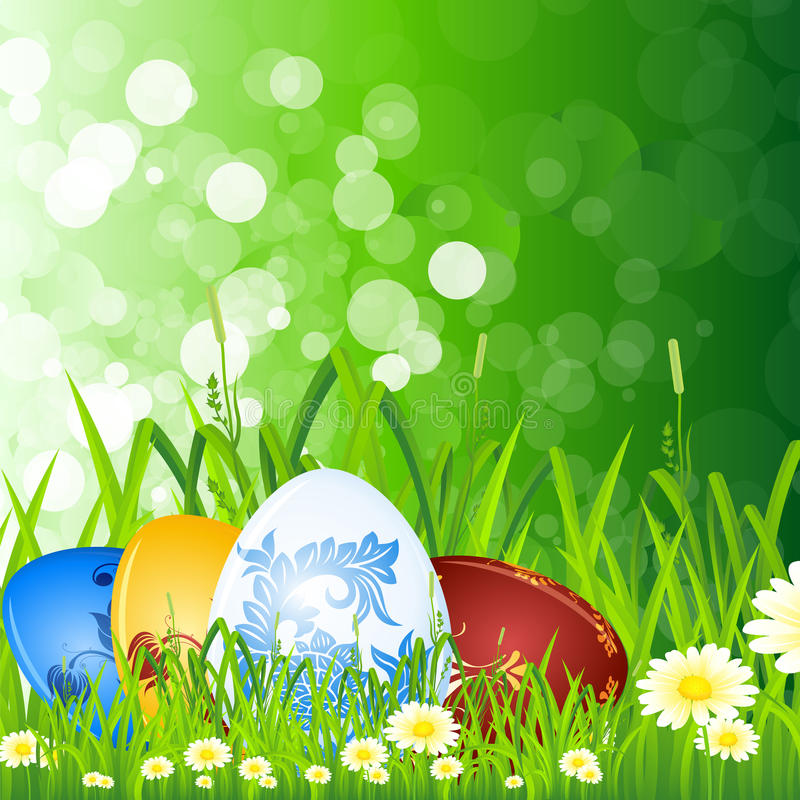Download Easter eggs in the grass stock vector. Image of spring - 19261351