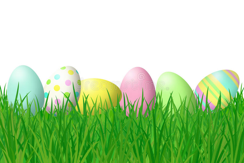 Easter Eggs in Grass vector illustration