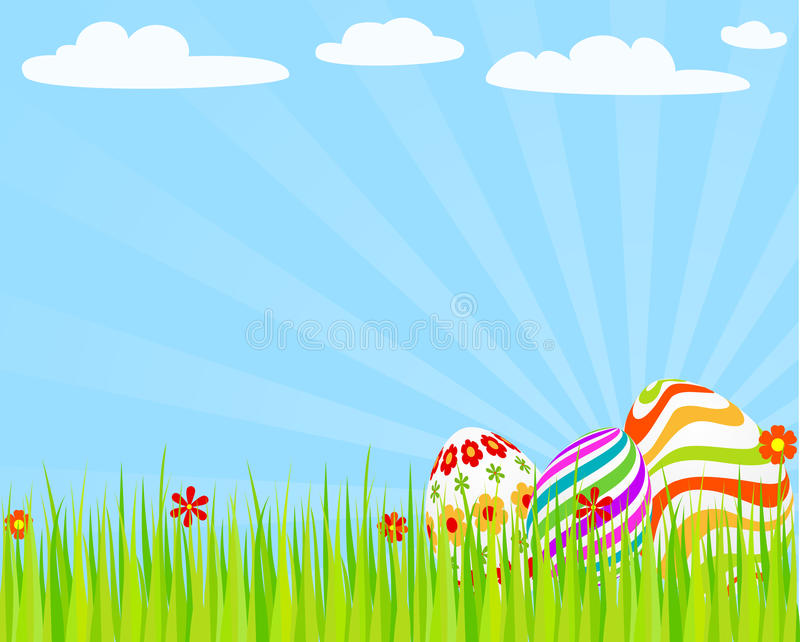 Download Easter_eggs_on_the_grass stock vector. Image of greeting - 23401379