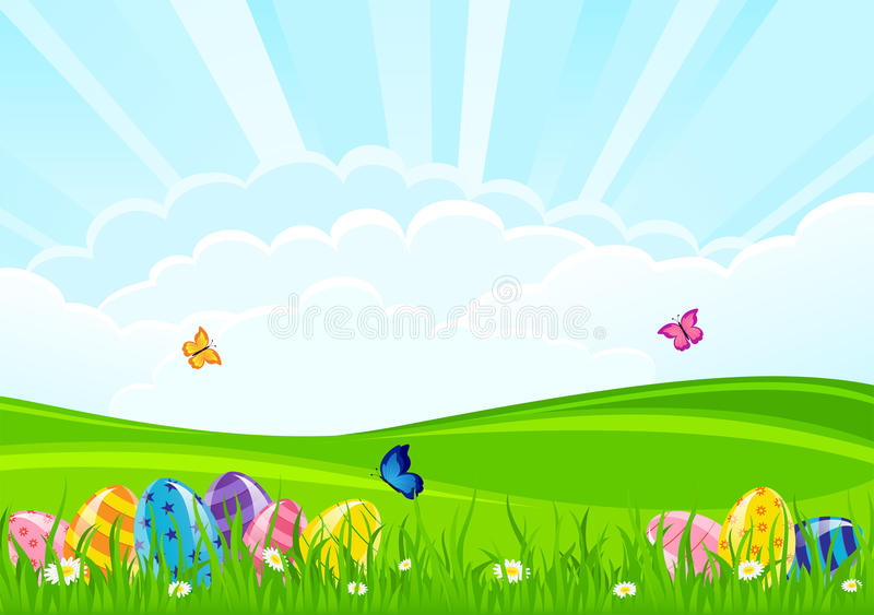 Easter Eggs On A Grass Royalty Free Stock Photo