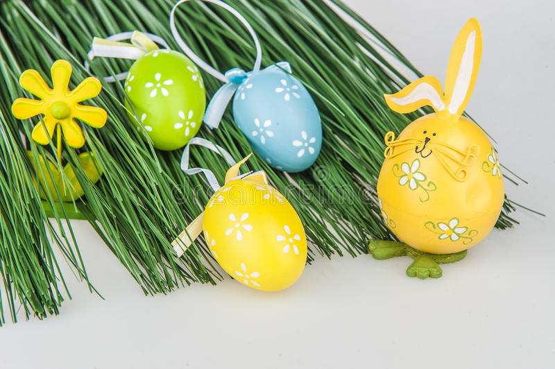 Easter eggs grass stock images
