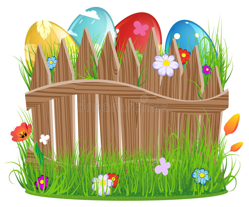 Download Easter Eggs With Grass And Fence Stock Vector