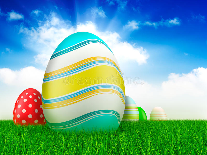 Download Easter Eggs On Grass And Sky Background Stock Illustration - Image: 23060127