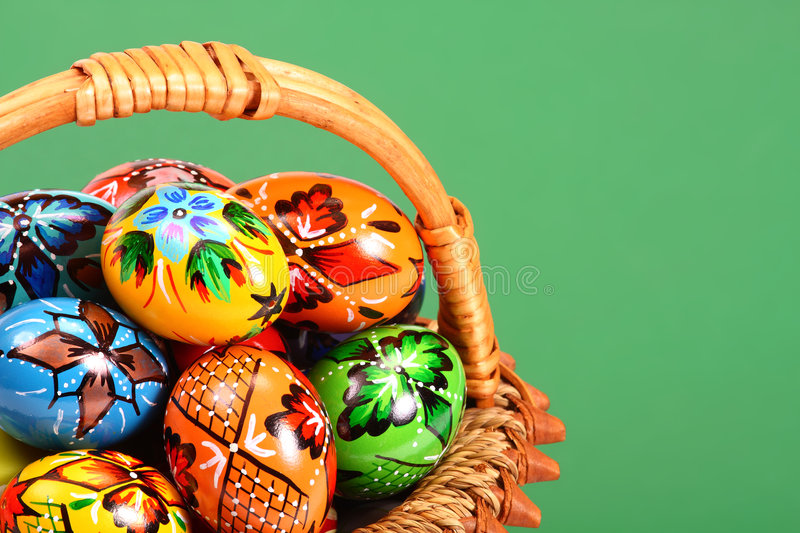 Easter Eggs on green background royalty free stock photos