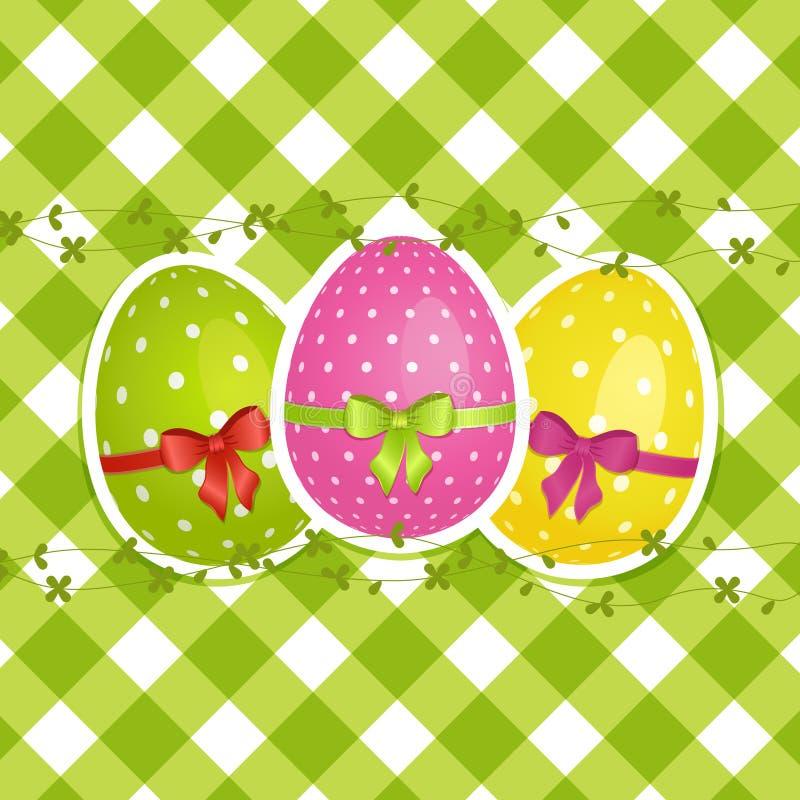 Easter eggs on a green gingham border