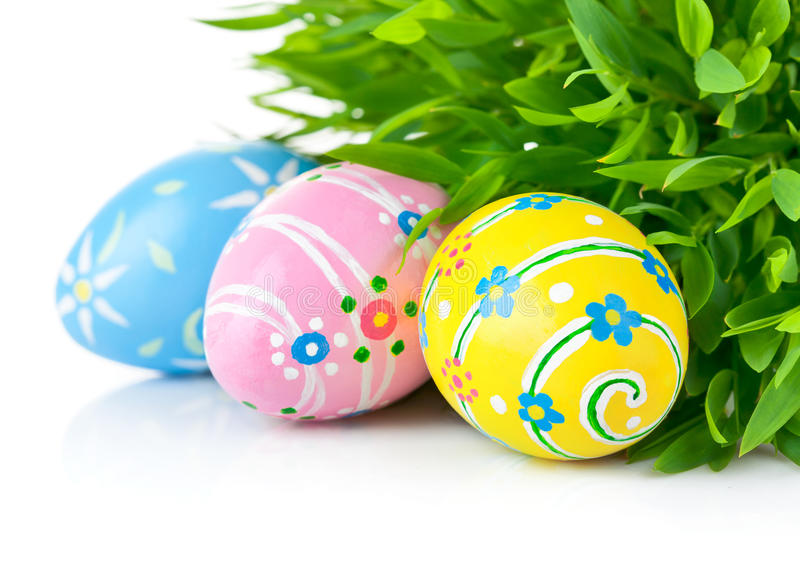 Easter eggs in the green grass royalty free stock images