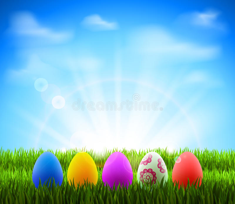 Easter eggs. In Green Grass on the glade stock illustration
