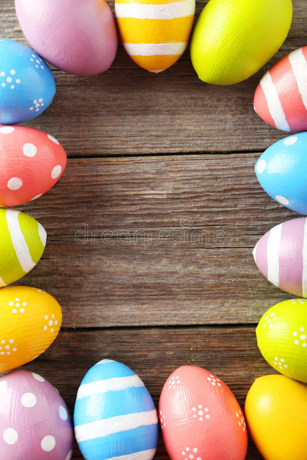 Easter eggs. On grey wooden background royalty free stock photo