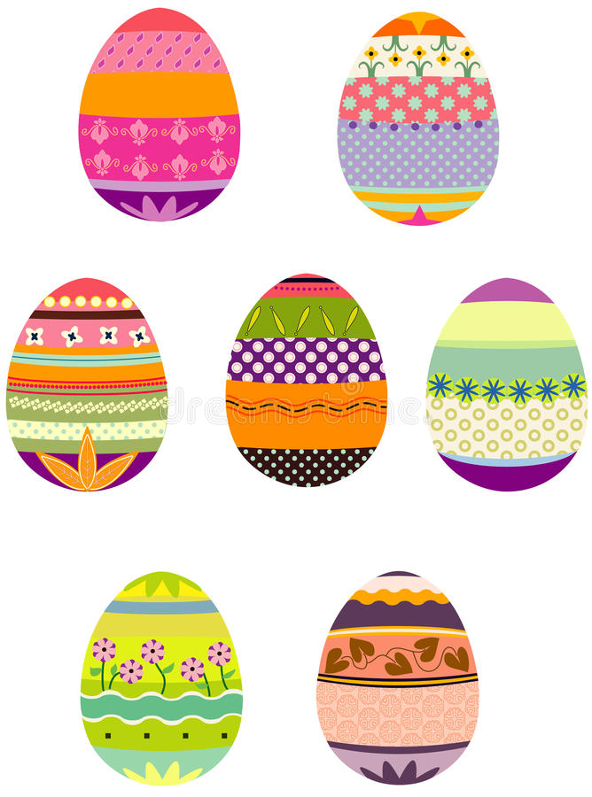 Easter eggs in a group stock illustration