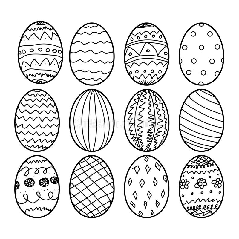 Easter eggs Hand drawn decorative elements in vector for coloring book. Black and white decorative pattern royalty free illustration