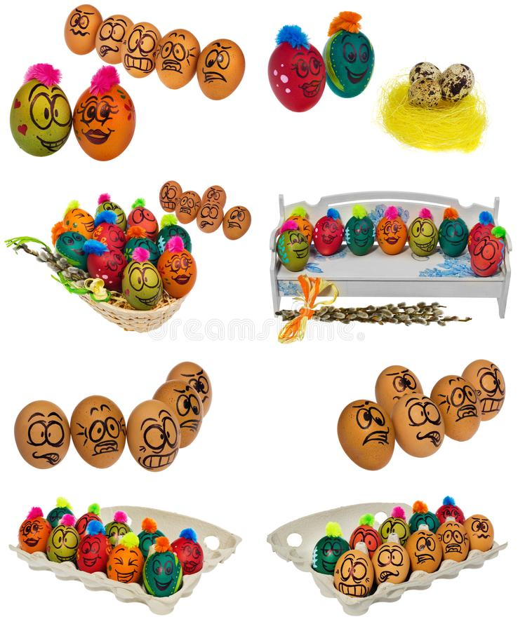 Easter eggs, hand-painted with smiling and terrified cartoon faces put in a cardboard box, container for eggs. royalty free stock image