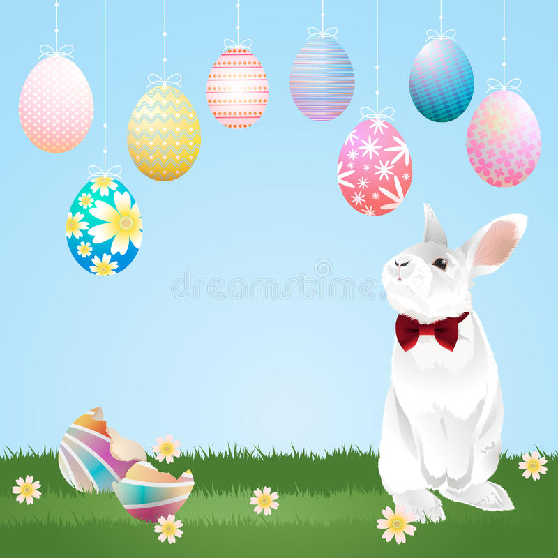 Easter eggs hanging and bunny. Colorful Easter eggs hanging and a bunny on green lawn. Easter eggs and bunny for Easter holidays. Vector illustration stock illustration