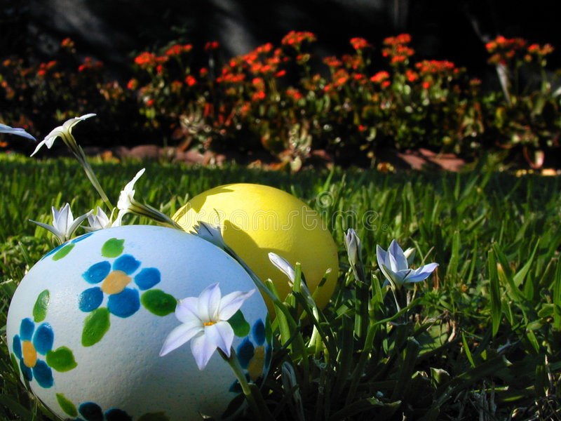 Easter Eggs Hidden in the Grass. Two Easter Eggs Hidden in the Grass royalty free stock photo