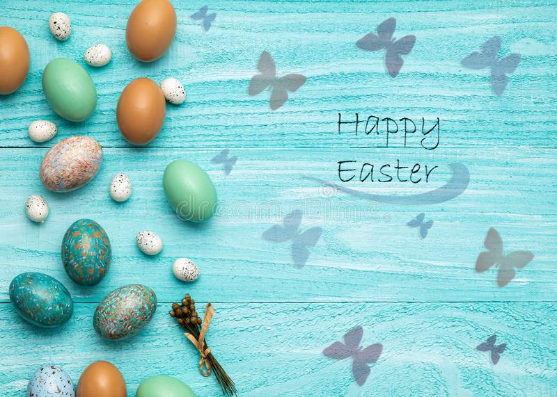Easter eggs holiday flat lay room for text colorful clean easter bunny jelly beans stock photos