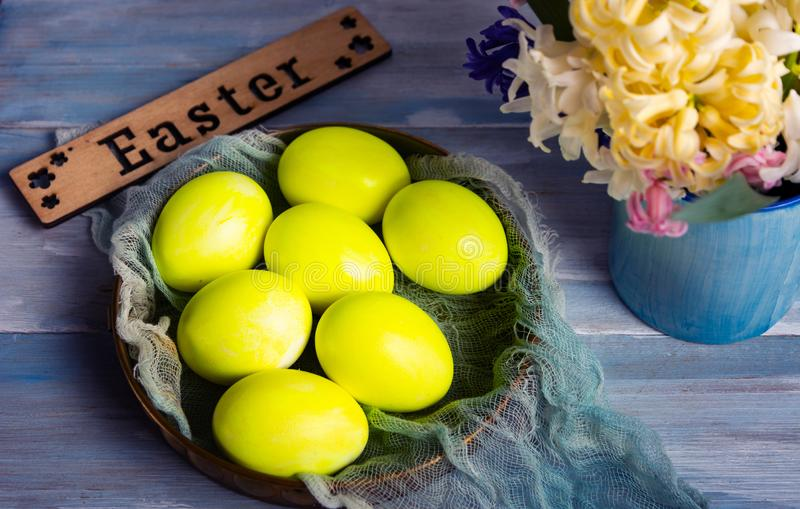 Easter eggs and hyacinth spring flowers royalty free stock photography