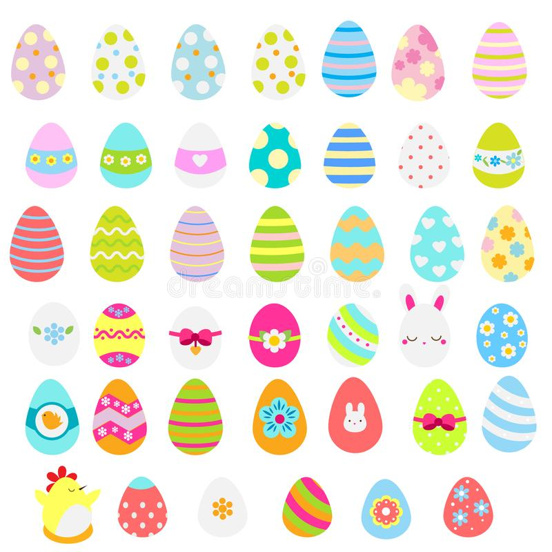 Easter eggs icons. Big collection. Colorful Flat spring easter eggs in different design. Isolated clip art stock illustration