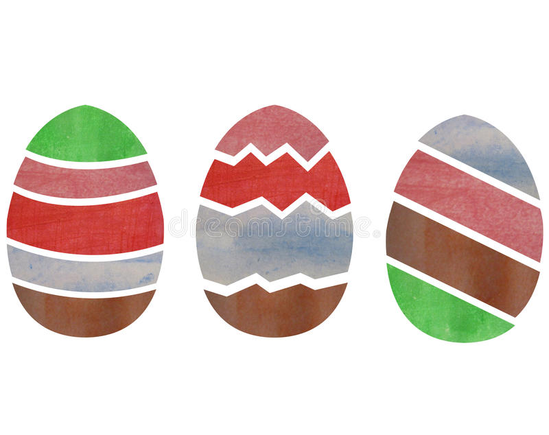 Easter eggs illustrated in watercolor. And colored stock photo