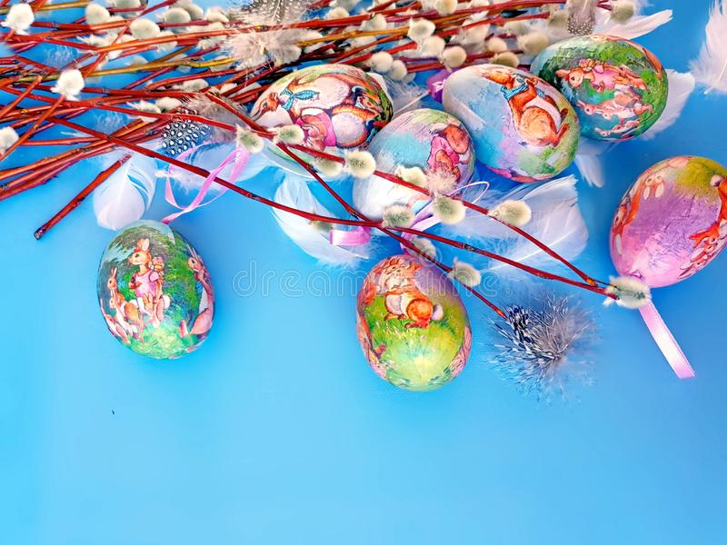 Easter Eggs  illustration greetings blue  background red yellow   Spring Easter  Theme Holiday design illustration. Happy Easter Eggs and  Willow tree On Blue stock photos