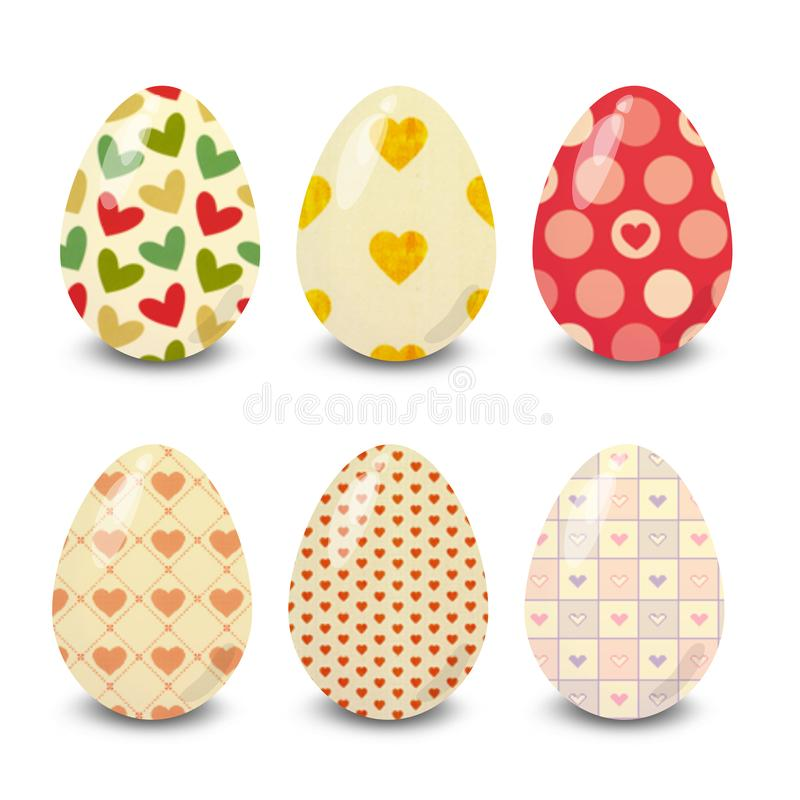 Easter eggs,  colorful, hearts white background. Easter eggs. Illustration isolated with background easter eggs with ornament, element for design, different stock illustration