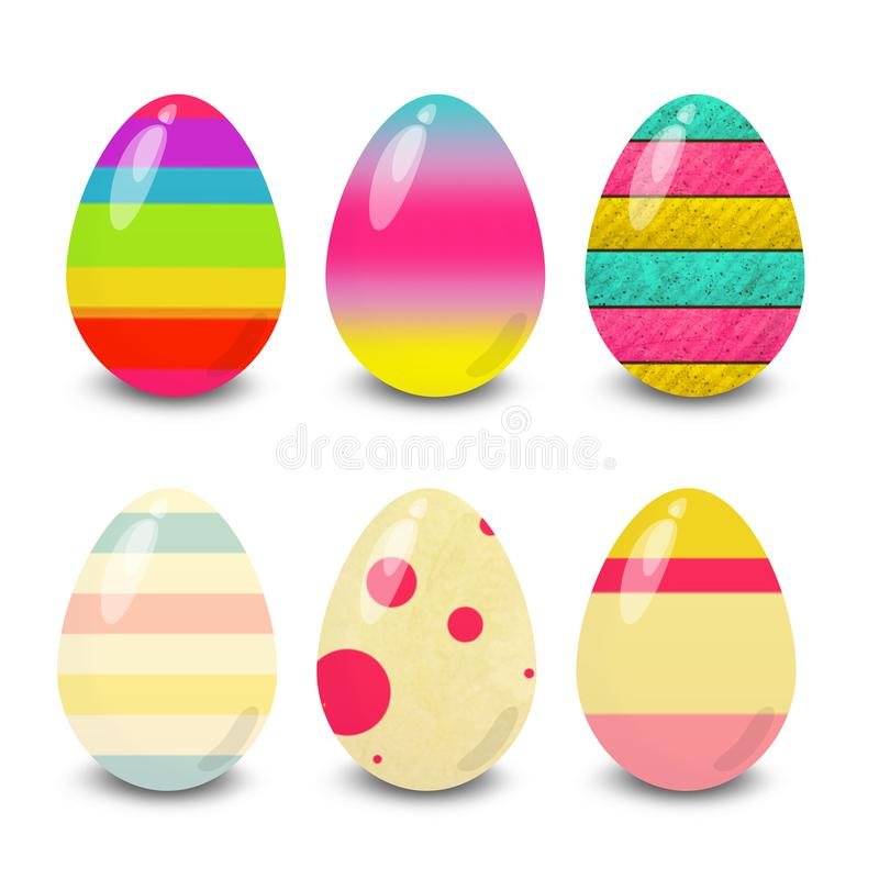 Easter eggs,  colorful, white background. Easter eggs. Illustration isolated with background easter eggs with ornament, element for design, different patterns vector illustration