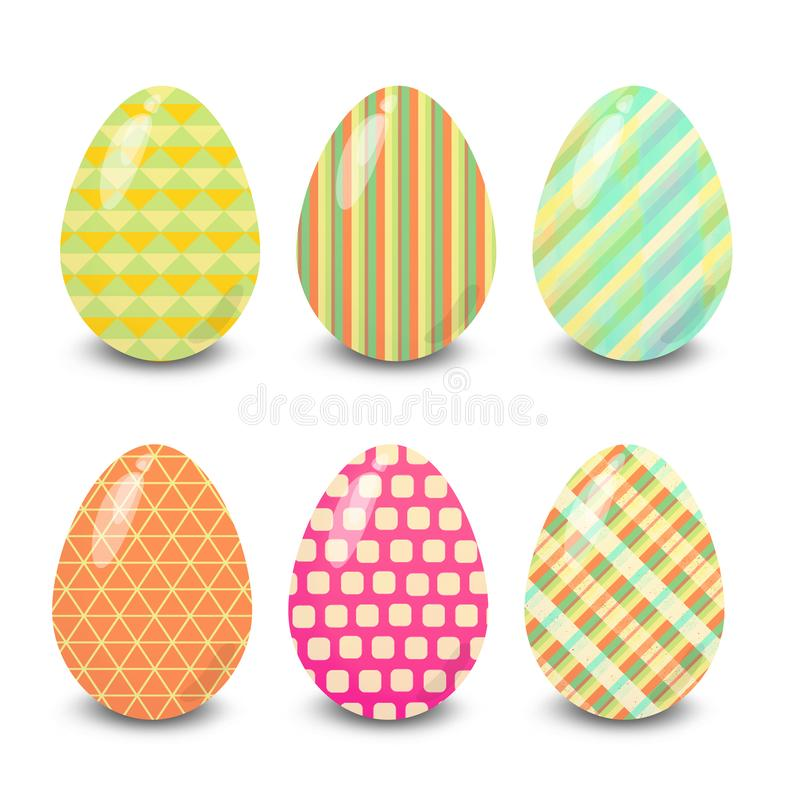 Easter eggs lines stripes shapes patterns. Easter eggs. Illustration isolated with background easter eggs with ornament, element for design, different patterns stock illustration