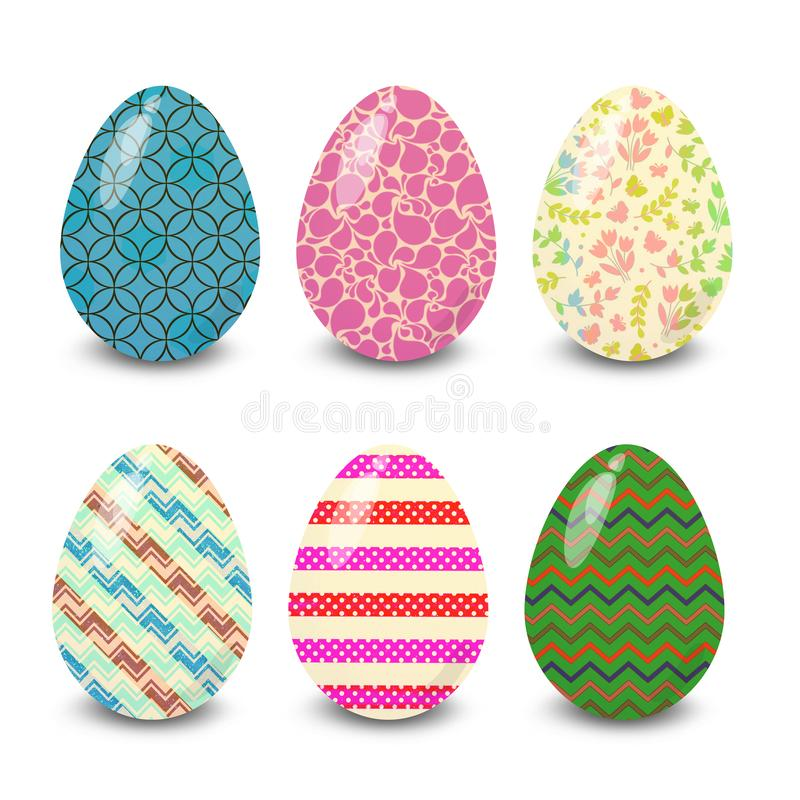 Easter eggs mix stripe six  patterns. Easter eggs. Illustration isolated with background easter eggs with ornament, element for design, different patterns vector stock illustration