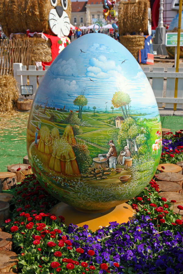 Easter eggs, Koprivnica. CROATIA KOPRIVNICA, 20 MARCH 2016: Exhibition of large Easter eggs `Egg from the heart` at Zrinski square in Koprivnica, Croatia stock photos