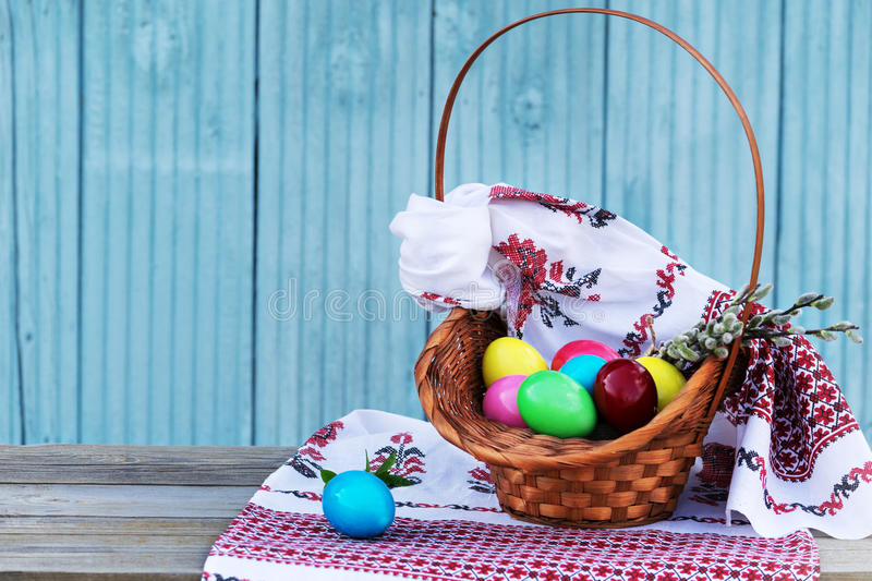 Easter eggs with linen towels royalty free stock photo
