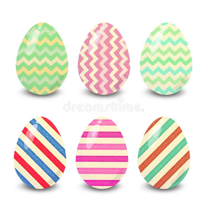Easter eggs lines stripes  patterns. Easter eggs. Illustration isolated with background easter eggs with ornament, element for design, different patterns vector stock illustration