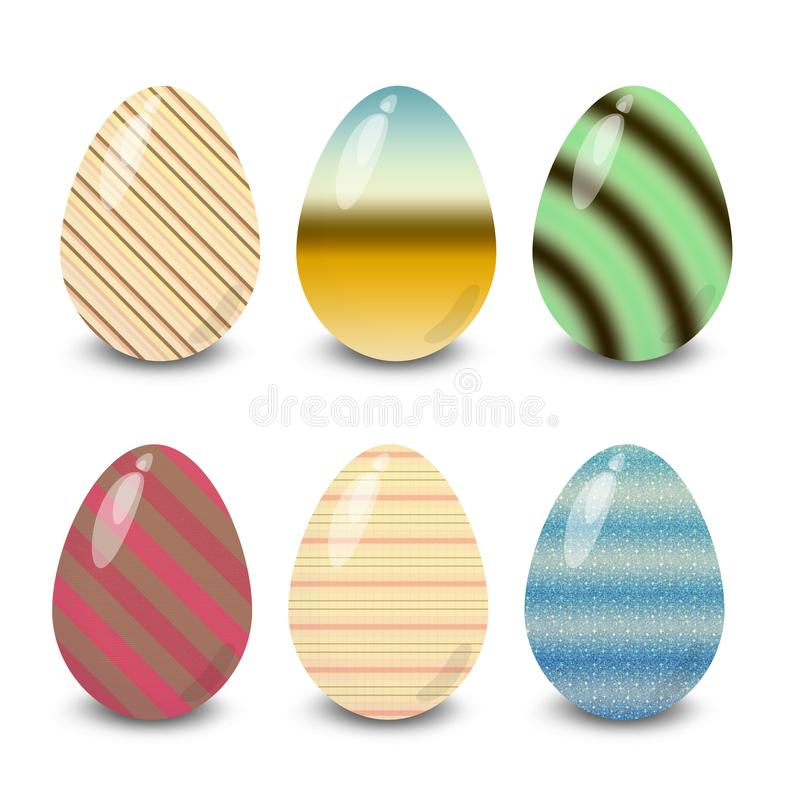Easter eggs lines stripes and shapes patterns. Easter eggs. Illustration isolated with background easter eggs with ornament, element for design, different royalty free illustration