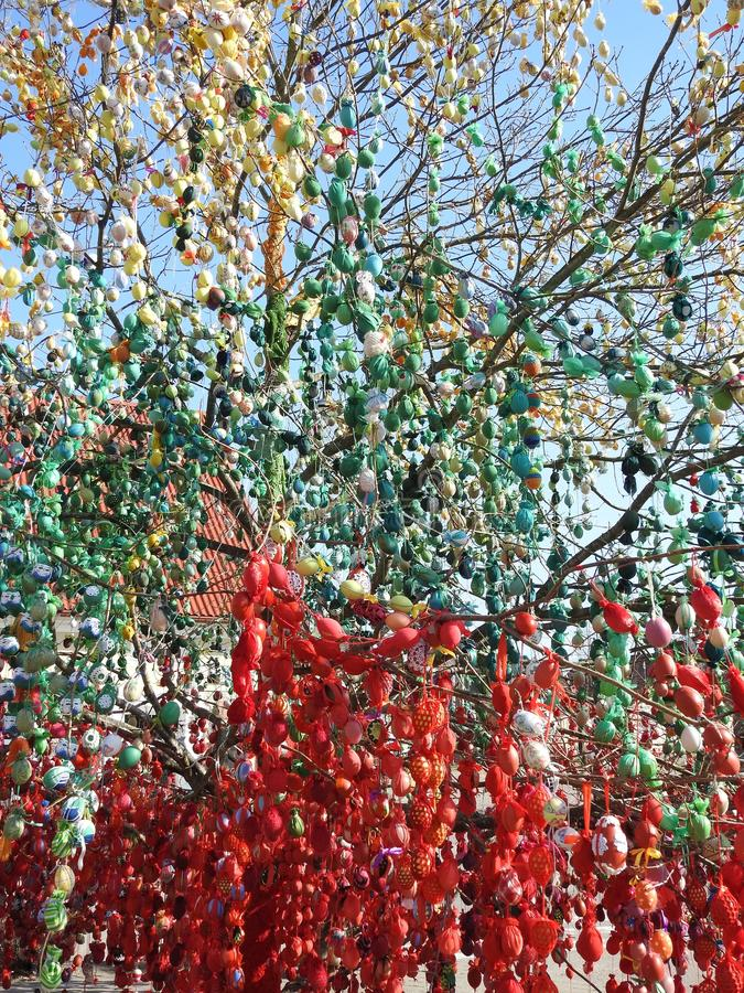 Colorful Easter eggs on tree, Lithuania royalty free stock photos