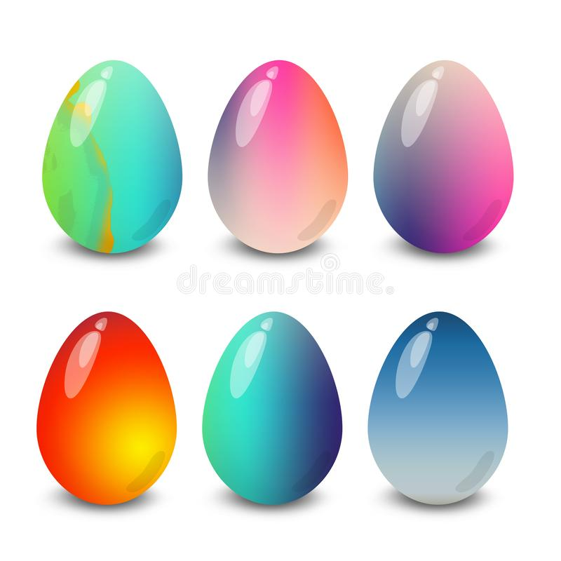 Easter eggs marble gradient patterns. Easter eggs. Illustration isolated with background easter eggs with ornament, element for design, different patterns vector stock illustration