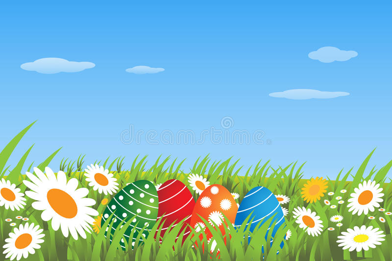Easter eggs in a meadow - vector. Illustration of a background with easter eggs in a blossom meadow. EPS file available royalty free illustration