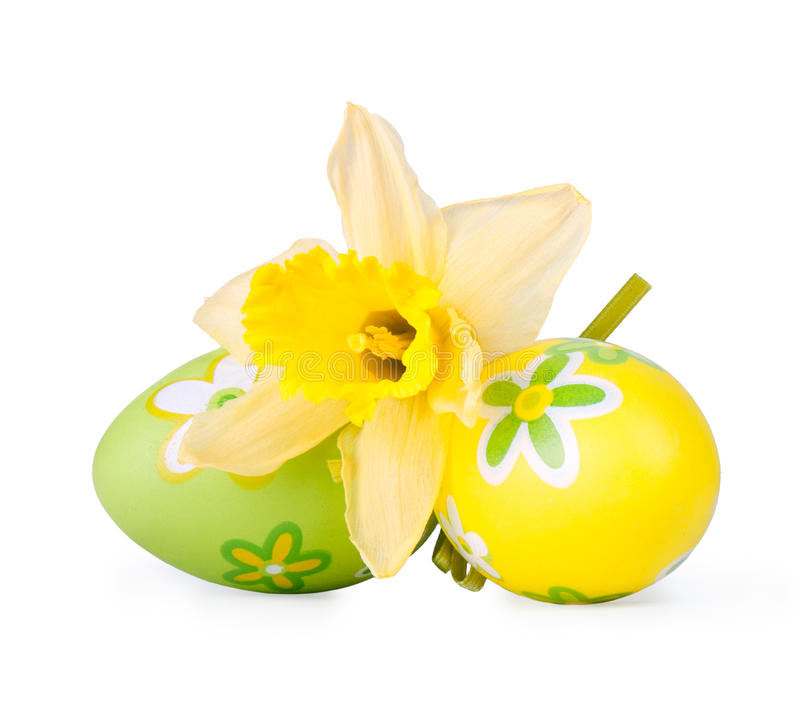 Download Easter Eggs With Narcissus Flower Royalty Free Stock Images - Image: 23138049