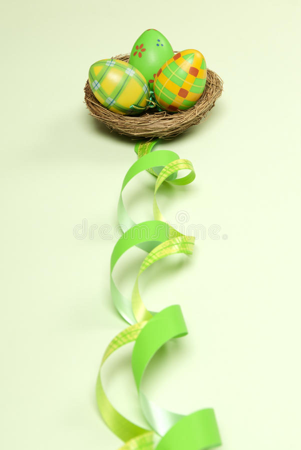 Easter Eggs And Nest Stock Images