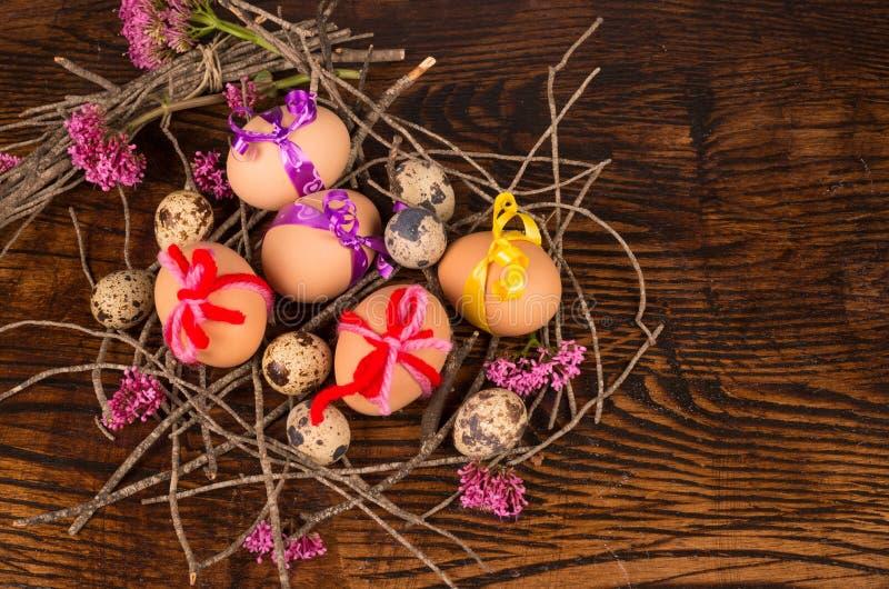 Easter eggs nest still life stock image