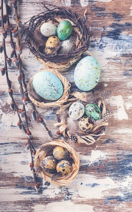 Easter eggs in nests and willow branches. Easter decorations. Rustic surface. Top view. Vertical shot royalty free stock photo