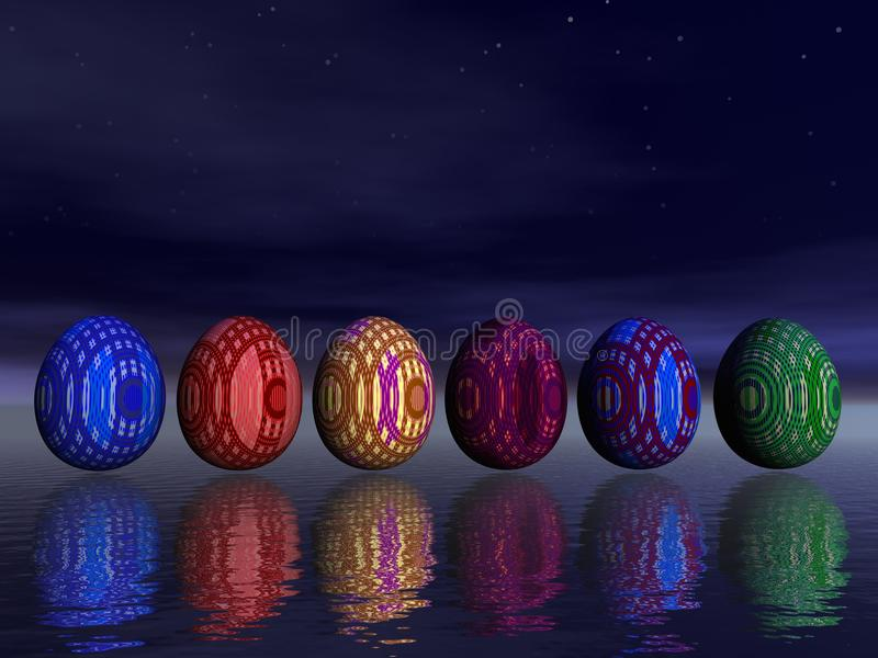 Easter eggs by night royalty free illustration