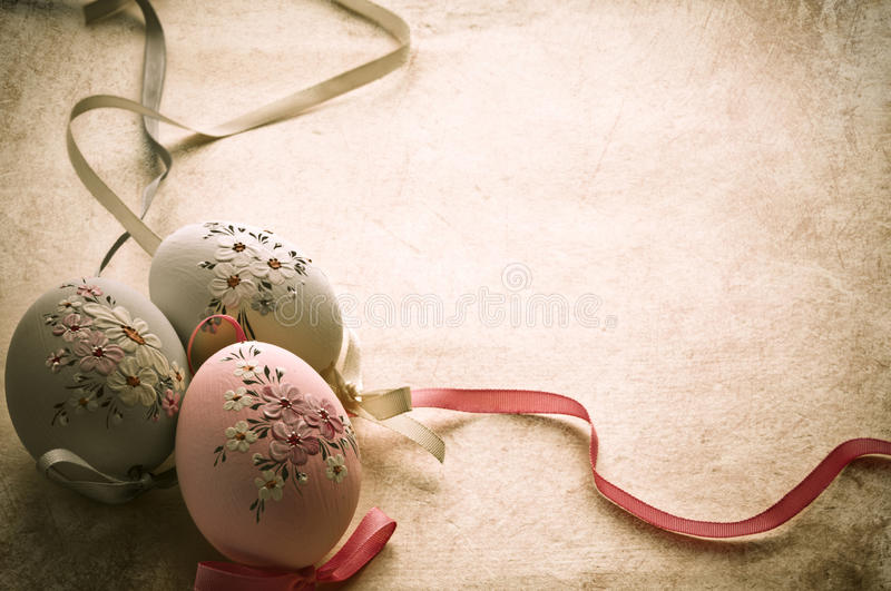 Easter eggs in old style stock photo