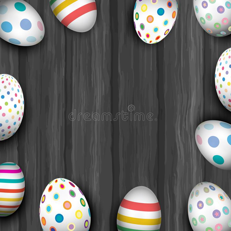 Easter eggs on old wood texture. Cute Easter eggs with bright designs on an old wooden texture royalty free illustration