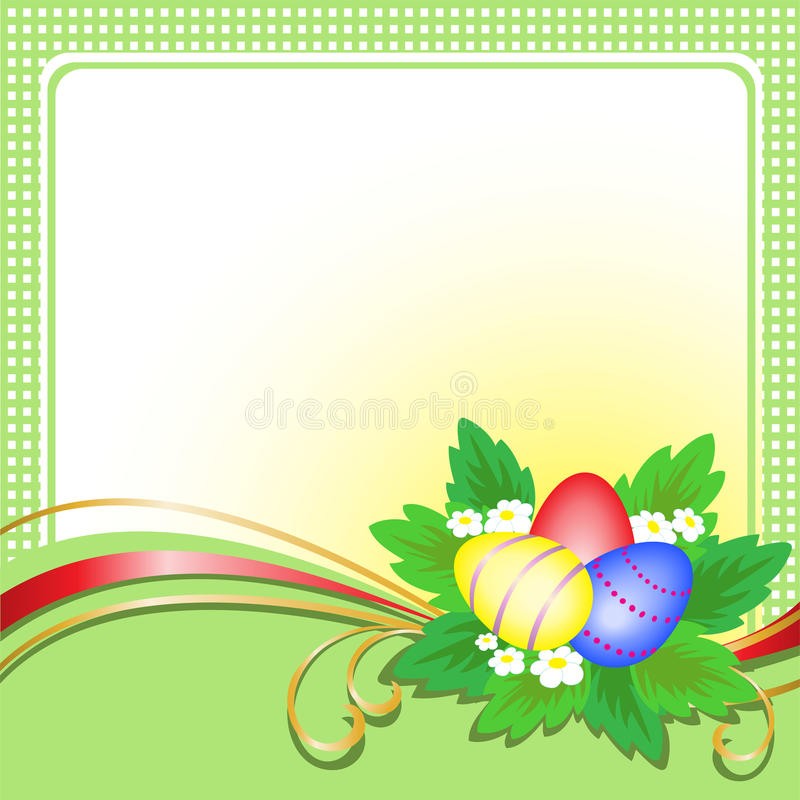 Free Easter Eggs On Green Card Royalty Free Stock Photo - 19053095