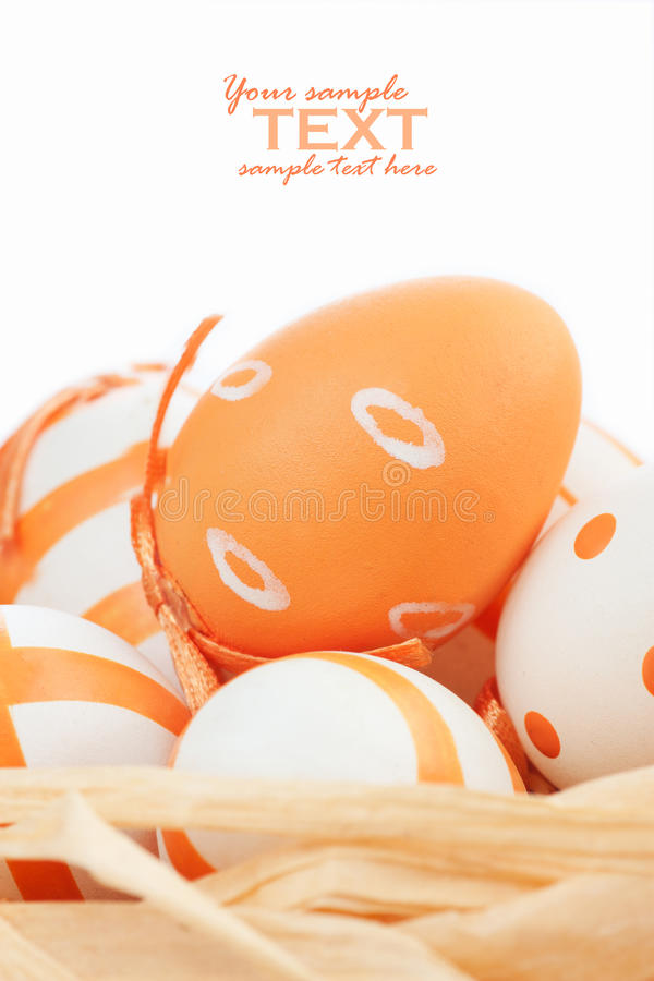 Easter eggs in orange tones stock image